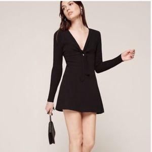 Reformation Black Gia Tie Front Dress